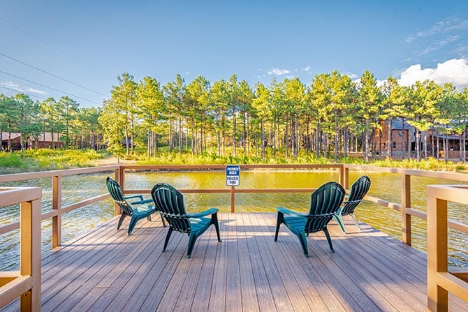 Chairs on a lakeside dock.