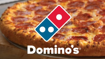 Domino's logo and pizza.