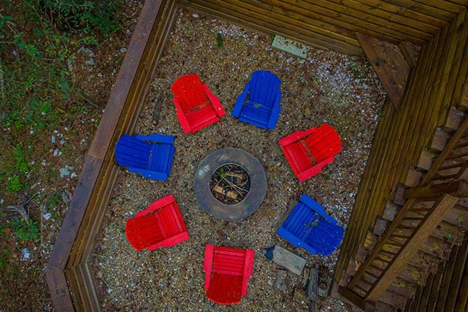 Overhead view of firepit with chairs.